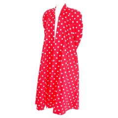1980s Victor Costa Bergdorfs Red w White Polka Dots Summer Evening Swing Coat