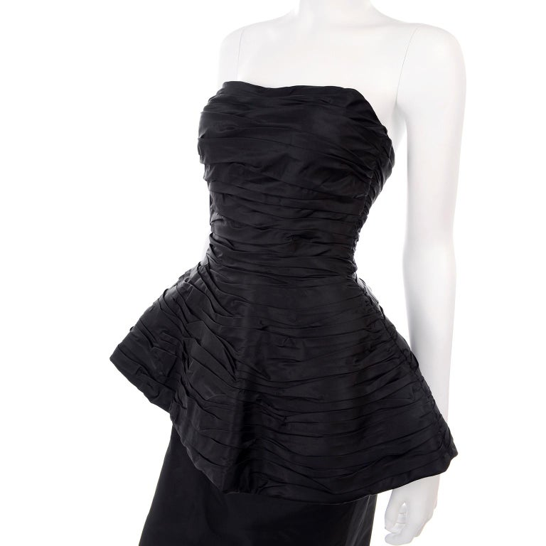 1980s Victor Costa Black Pleated Strapless Dress W Dramatic Peplum For Sale 6