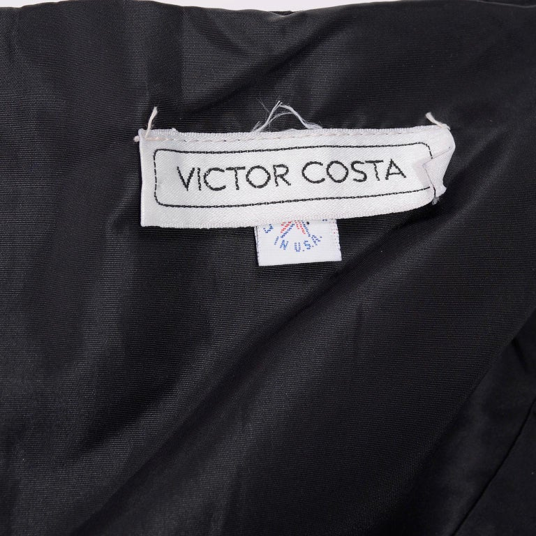 1980s Victor Costa Black Pleated Strapless Dress W Dramatic Peplum For Sale 9