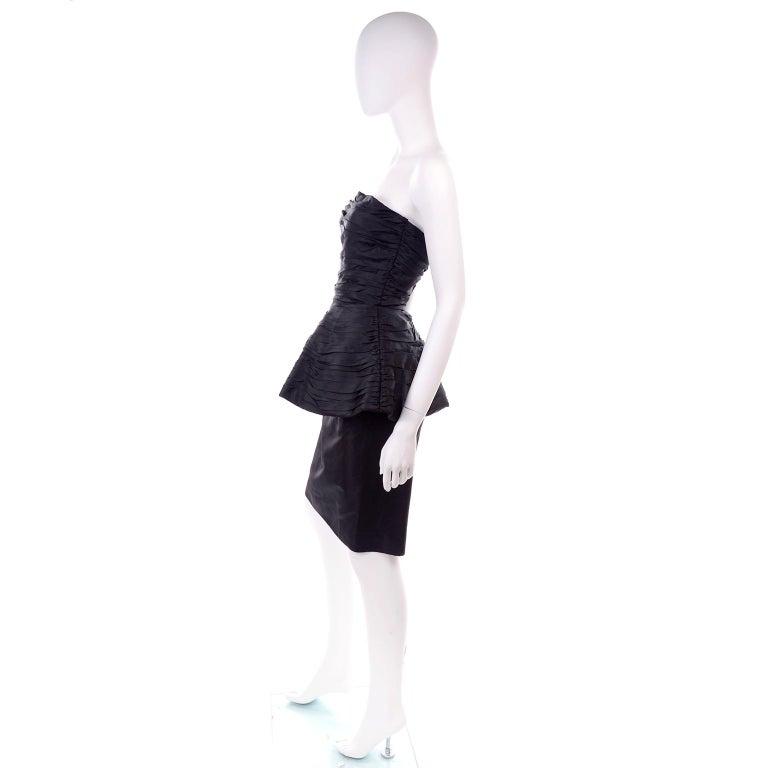 Women's 1980s Victor Costa Black Pleated Strapless Dress W Dramatic Peplum For Sale