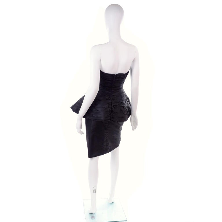 1980s Victor Costa Black Pleated Strapless Dress W Dramatic Peplum For Sale 1
