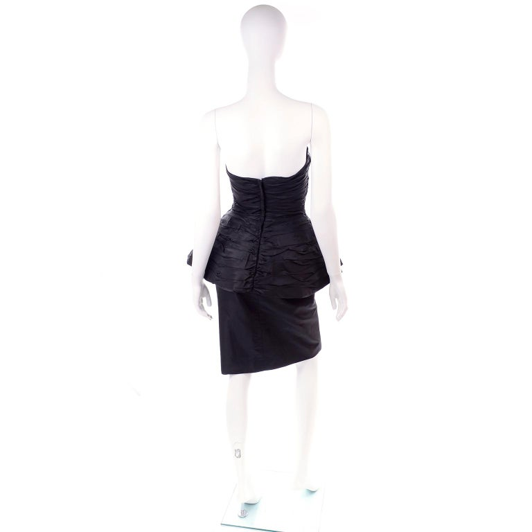 1980s Victor Costa Black Pleated Strapless Dress W Dramatic Peplum For Sale 2