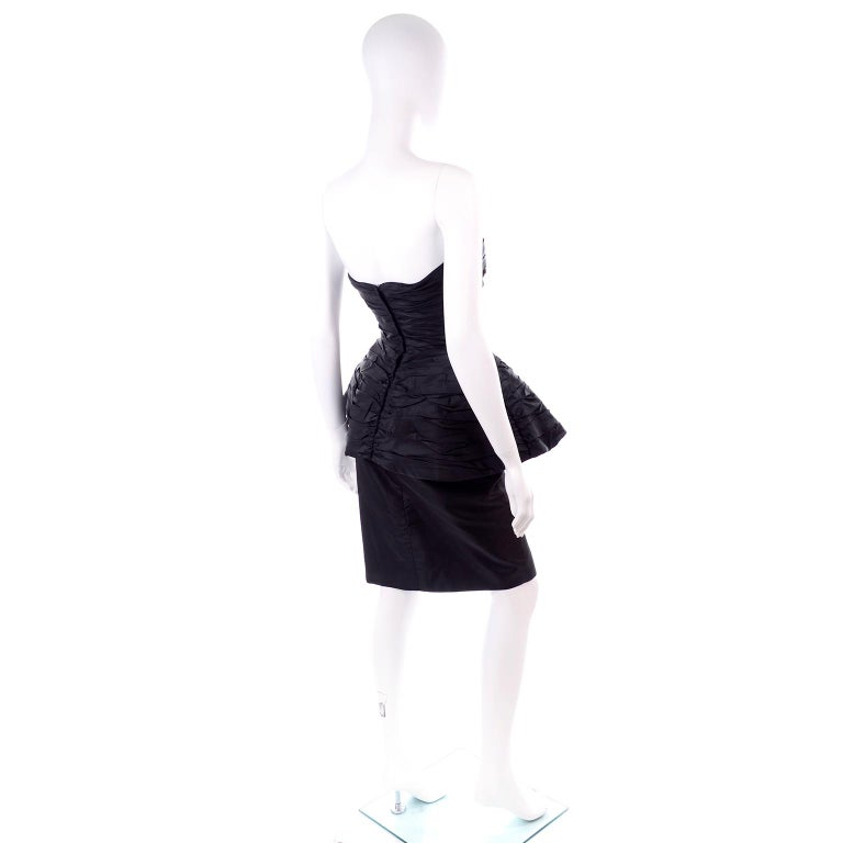 1980s Victor Costa Black Pleated Strapless Dress W Dramatic Peplum For Sale 3