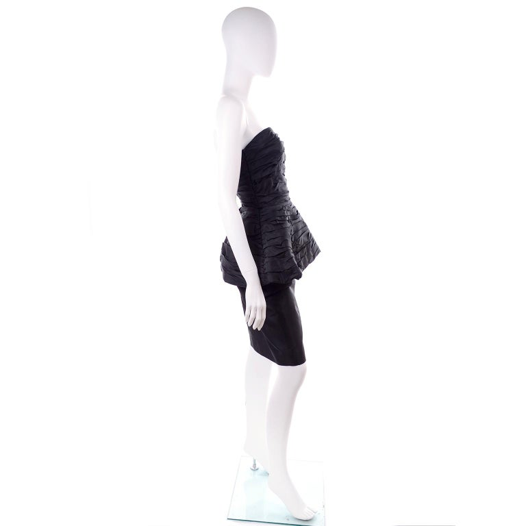 1980s Victor Costa Black Pleated Strapless Dress W Dramatic Peplum For Sale 4