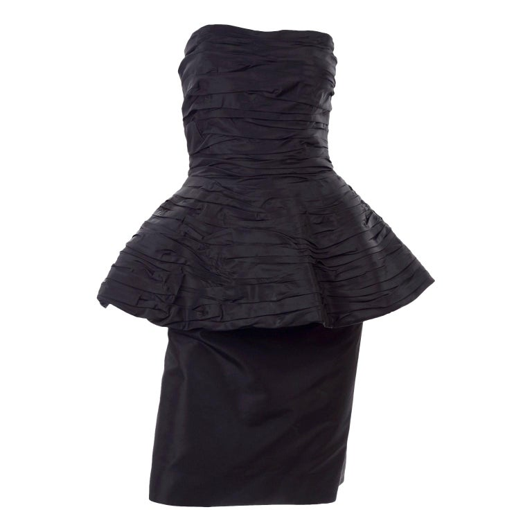 1980s Victor Costa Black Pleated Strapless Dress W Dramatic Peplum For Sale