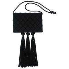 1980's Victor Costa Black Satin Evening Handbag With Tassels