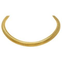 1980s Vintage 14 Karat Gold Tubogas Collar Necklace
