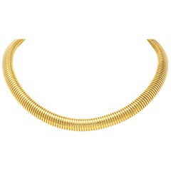 1980s Vintage 14 Karat Yellow Gold Tubogas Collar Necklace