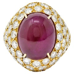 1980s Vintage 22.60 Carat Ruby Diamond 18 Karat Gold Cocktail Ring