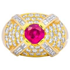 1980s Vintage 3.75 Carat Ruby Diamond 18 Karat Gold Cocktail Ring