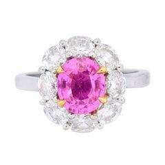 1980s Vintage 4.25 Carat Pink Sapphire Diamond Platinum Cluster Ring