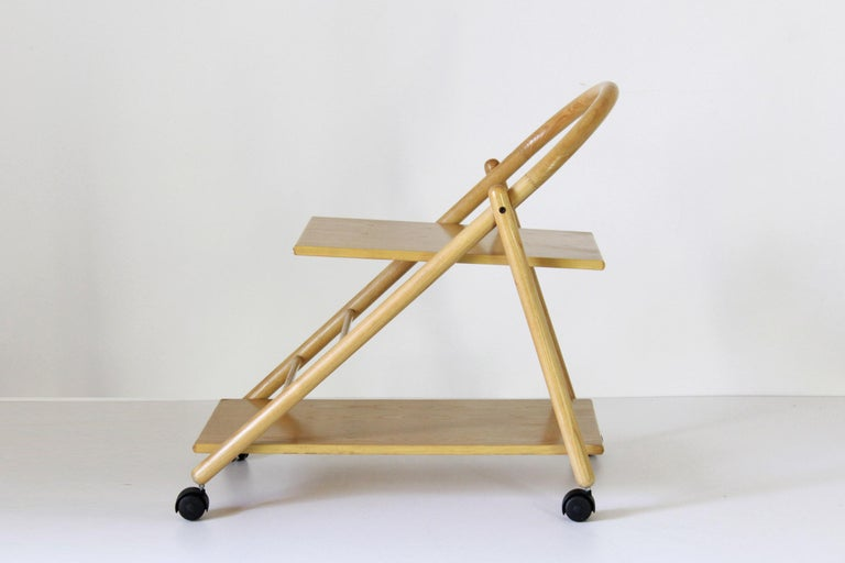 Mid-Century Modern 1980s Vintage Bar Cart with Solid Wood Structure For Sale