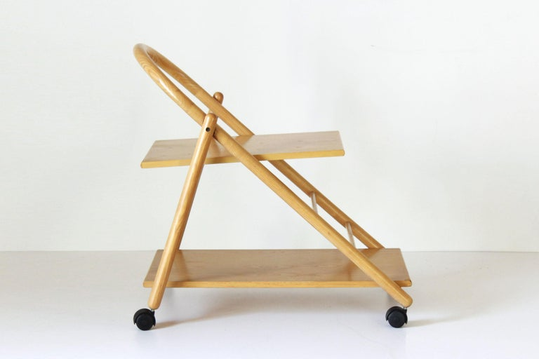 Italian 1980s Vintage Bar Cart with Solid Wood Structure For Sale