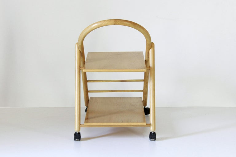 Late 20th Century 1980s Vintage Bar Cart with Solid Wood Structure For Sale
