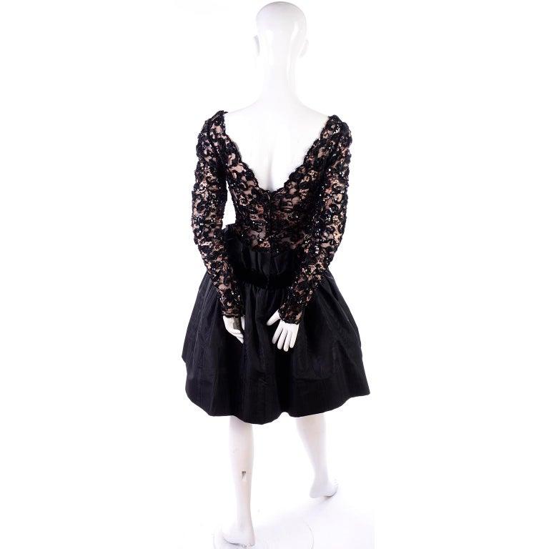 1980s Vintage Bob Mackie Black Lace Illusion Dress w Paper Bag Waist For Sale 6