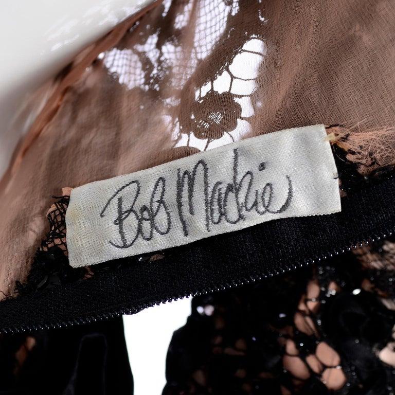 1980s Vintage Bob Mackie Black Lace Illusion Dress w Paper Bag Waist For Sale 7