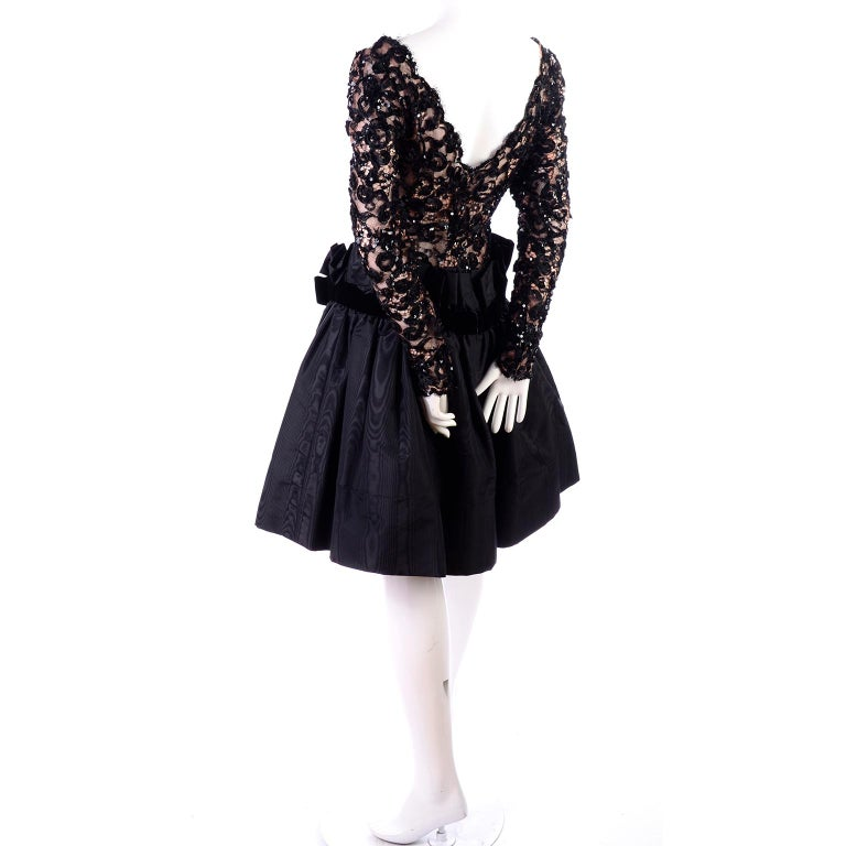 1980s Vintage Bob Mackie Black Lace Illusion Dress w Paper Bag Waist In Excellent Condition For Sale In Portland, OR