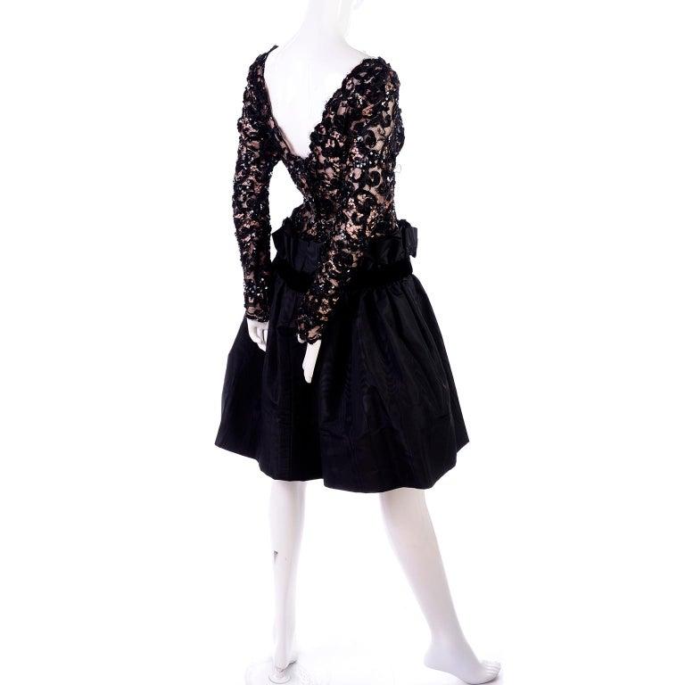 Women's 1980s Vintage Bob Mackie Black Lace Illusion Dress w Paper Bag Waist For Sale