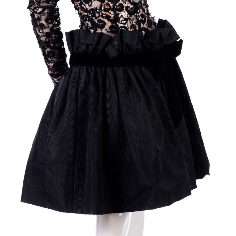 1980s Vintage Bob Mackie Black Lace Illusion Dress w Paper Bag Waist For Sale 2