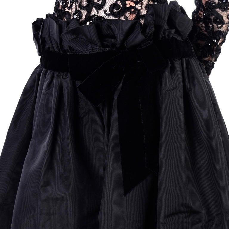 1980s Vintage Bob Mackie Black Lace Illusion Dress w Paper Bag Waist For Sale 3