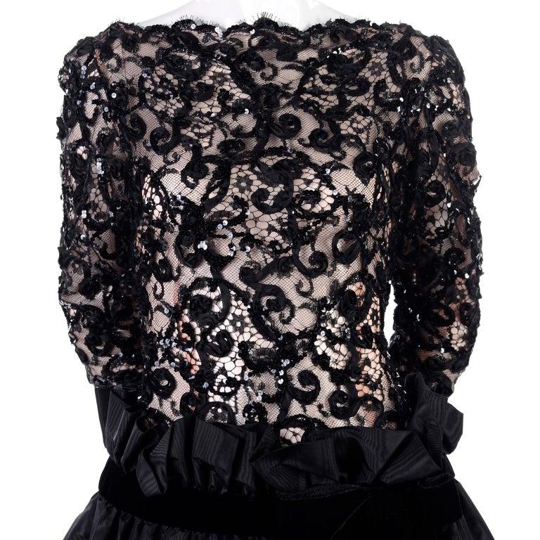 1980s Vintage Bob Mackie Black Lace Illusion Dress w Paper Bag Waist For Sale 5