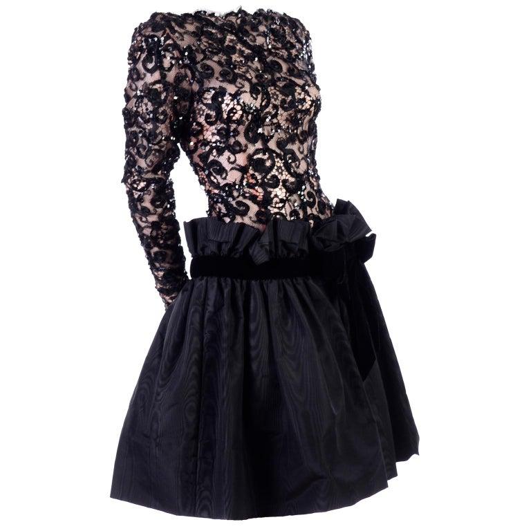 1980s Vintage Bob Mackie Black Lace Illusion Dress w Paper Bag Waist For Sale
