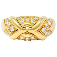 1980s Vintage Bulgari Diamond 18 Karat Gold Trika Band Ring