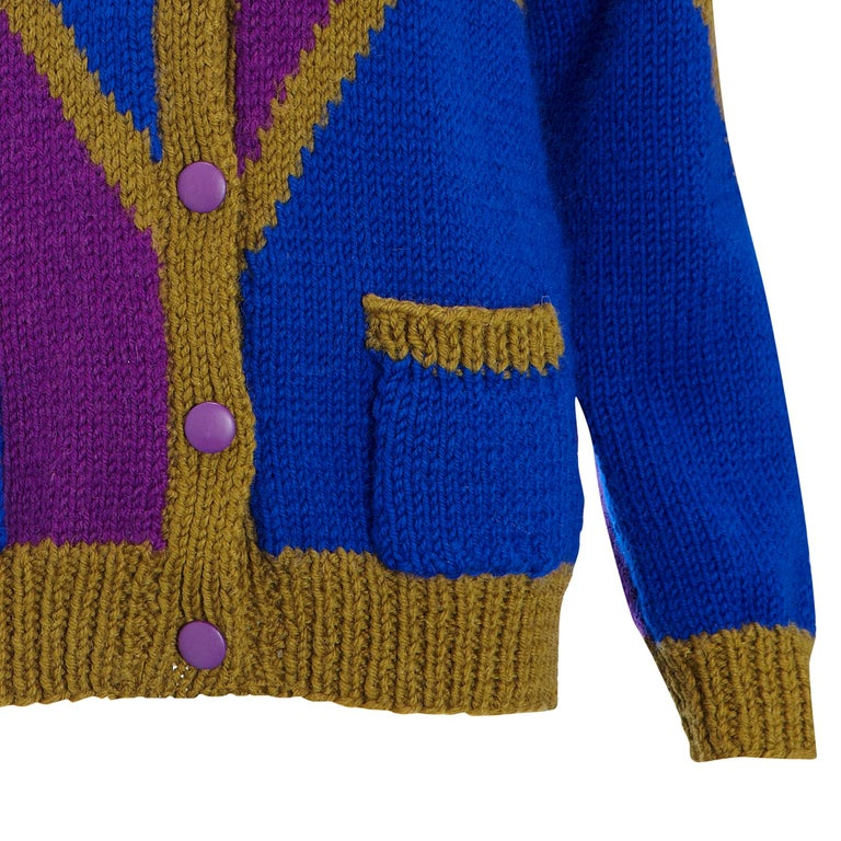 Women's 1980s Vintage Cardigan Khaki Blue & Purple Hand Knit  For Sale