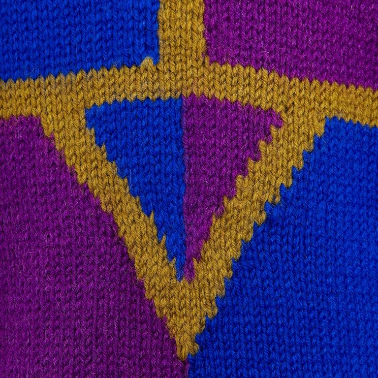 1980s Vintage Cardigan Khaki Blue & Purple Hand Knit  For Sale 1