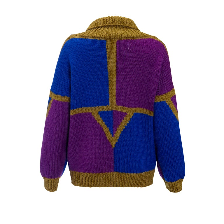 1980s Vintage Cardigan Khaki Blue & Purple Hand Knit  For Sale 2