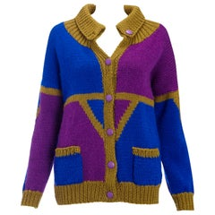1980s Vintage Cardigan Khaki Blue & Purple Hand Knit