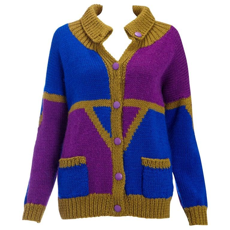1980s Vintage Cardigan Khaki Blue & Purple Hand Knit  For Sale