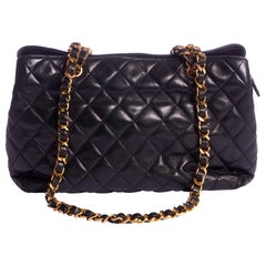 1980's Vintage Chanel Black Classic Zipped Tote With Chains