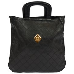 1980's Vintage Chanel Black Quilted Coin Handbag