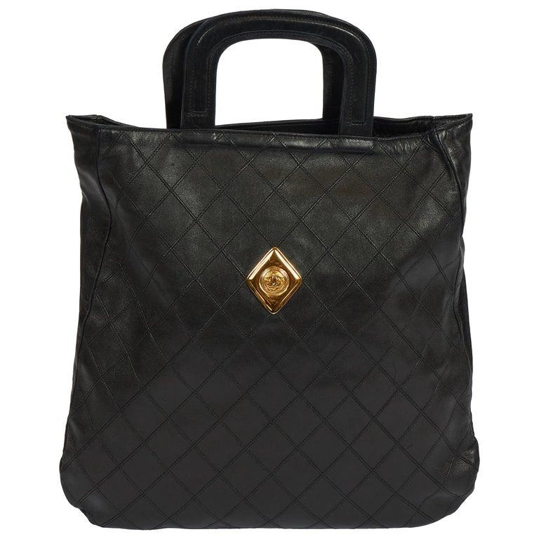 1980's Vintage Chanel Black Quilted Coin Handbag For Sale