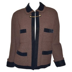 1980's Vintage Chanel Brown Tweed Jacket with Velvet Trim