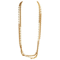 1980's Vintage Chanel Double Strand Pearl Gold Chain Necklace