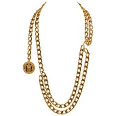 1980's Vintage Chanel Gold Double Belt Necklace or Belt with Box