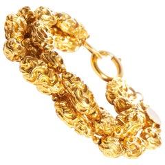 1980s Vintage Chanel Gold Three Strand Nugget Bracelet