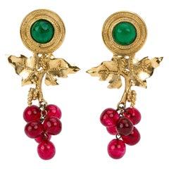 1980's Vintage Chanel Gripoix Rare Grape Earrings