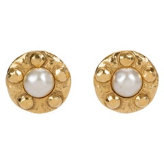 1980's Vintage Chanel Hammered Pearl Earrings