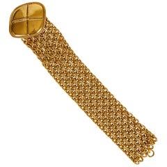 1980's Vintage Chanel Mesh Large Quilted Coin Bracelet