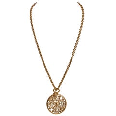 1980's Vintage Chanel Round Pearl Pendant Necklace