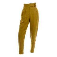 1980s Vintage Charlotte Neuville High Waisted Mustard Wool Pants