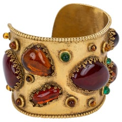 1980's Vintage Collectible Chanel Gripoix Rare Cuff Bracelet