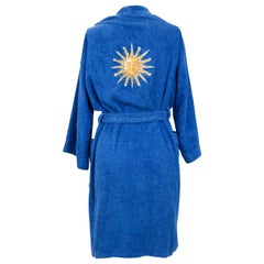 1980's Vintage Collectible Hermès Rare Sun Embroidered Blue Robe