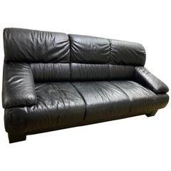 "1980s Vintage Contemporary Modern Ekornes ""Savannah/Memphis"" Black Leather Sofa"