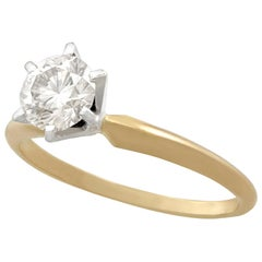 1980s Vintage Diamond and Yellow Gold White Gold Set Solitaire Ring