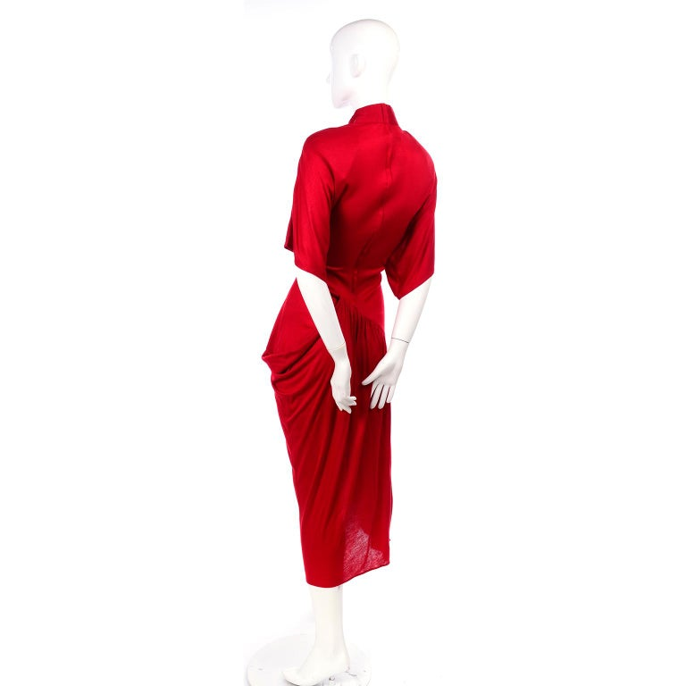 1980s Vintage Dress in Rich Red Jersey With Dramatic Draping For Sale 6