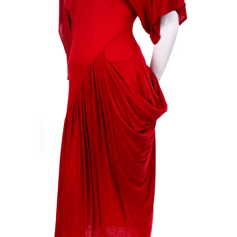 1980s Vintage Dress in Rich Red Jersey With Dramatic Draping In Excellent Condition For Sale In Portland, OR